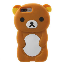 For iPhone 7+ 8+ PLUS - Soft Silicone Rubber Skin Case Cover 3D Brown Teddy Bear