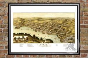 Vintage Hallowell, ME Map 1878 - Historic Maine Art - Old Victorian Industrial