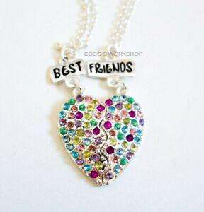 BEST FRIENDS BFF CRYSTAL HEART PENDANT 2 IN 1 SET NECKLACE GIRLS FRIENDSHIP GIFT