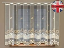 "Jacquard net curtain with curtain tape cream / dark gold (160x315 cm) 63"" x 124"""