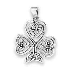 Sterling Silver Celtic Shamrock Clover Pendant Jewelry 925 w Knotwork