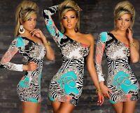 One Shoulder Minikleid Kleid Barock Muster Zebra Party Dress Bodycon Multicolor