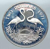 1971 The BAHAMAS Elizabeth II FLAMINGO Birds PROOF SILVER 2 Dollars Coin i85577
