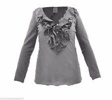 Damenblusen, - tops & -shirts aus Baumwolle ohne Muster mit Rüschen im Passform