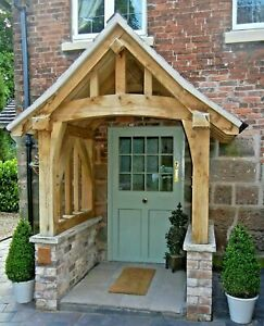 Oak Porch, Doorway, Wooden CANOPY, Self build kit, CURVED POSTS AND TIE BEAM