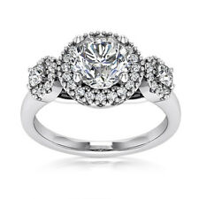 Halo Plain Shank 1 CT Round Cut Diamond Engagement Ring D VS2 14K White Gold