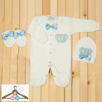 Personalise Baby Boy Diamante Crown & Blue Bows Baby grow Romper Suit Outfit