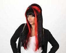 Peluca de bruja con araña disfraz halloween mechas rojas
