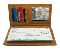 Tan Genuine Cowhide Leather Men's Checkbook Cover Long Wallet Organizer