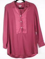 J Jill Women's Burgundy Button Front Long Sleeve Blouse Shirt 100% Silk Size S