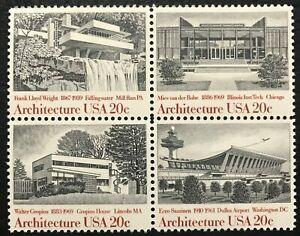 1982 Scott# 2019-2022 - 20¢ - Block of 4 - ARCHITECTURE - Mint NH