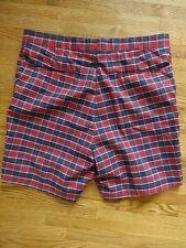 Men's HIGGINS SLACKS Golf Check/Plaid Shorts Sz 36 Red Blue Plaid Preppy