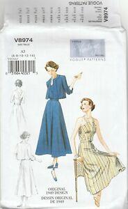 Vogue Sewing Pattern V8974 Miss Vintage 1949 Strapped Dress Jacket & Belt 6-14
