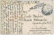 ITALIA REGNO - STORIA POSTALE  - CARTOLINA: francobolli staccati da CENSURA 1918
