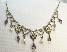 NEW $237 Michal Negrin Simulated Pearl & Peach Crystal Statement Necklace