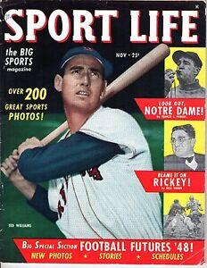 1948 (Nov.) Sport Life, Baseball magazine, Ted Williams, Boston Red Sox ~ Good