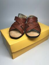 "NEW Womens ""Soft Spots"" Med Brown Leather Sasha Slip On Sandals With Box Sz. 9M"