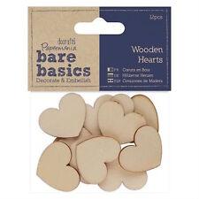 12 BARE BASICS NATURAL WOODEN HEART CARD MAKING CRAFT EMBELLISHMENTS CLEARANCE