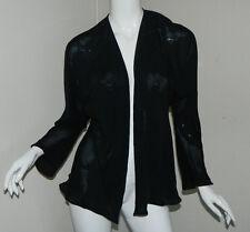 New Silk Women Carter Shibori Solid Black Long Sleeve Sheer Jacket Size S