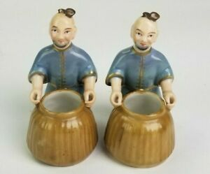 Vintage Chinese Porcelain Hand Painted Pair of Rice Barrel Harvester Figurines