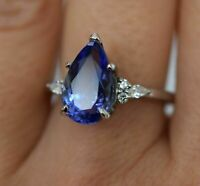 4.10 Ct Blue Tanzanite & Diamond Solitaire Engagement Ring 14k White Gold Over