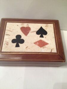 VINTAGE ITALY PIETRA DURA STONE DECK  OF CARDS HOLDER BOX GAMBLING ACE SPADES
