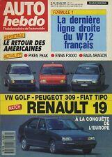 AUTO HEBDO n°634 du 20 Juillet 1988 309 R19 VW GOLF