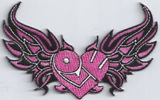 LOVE HEART WITH WINGS PINK EMBROIDERED IRON ON BIKER PARCH