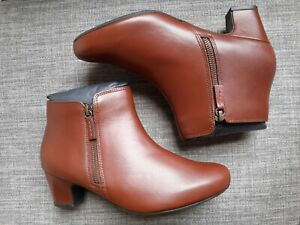 UK 8 Standard Hotter Women's Delight II Ankle Boot, Rich Tan, NEW boxed Rrp £95