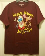 New Nickelodeon Ren and Stimpy Show Happy Joy Adult Medium T-shirt Funny Cartoon