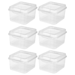 Sterilite 1803 Flip Top Storage Box Container Hinged Lid Plastic Clear, 6-Pack
