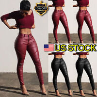 WOMEN PU LEATHER LEGGINGS TROUSERS HIGH WAIST STRETCH SKINNY LONG PANTS PLEATED
