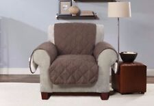 Sure Fit Reversible Flannel and Sherpa Chair Furniture Cover choclate