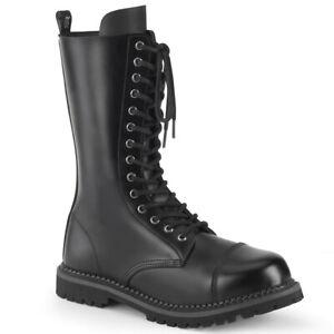 Demonia RIOT-14 Men's Black Leather Combat Militatry Steel Toe Mid-Calf Boot