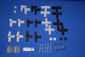 Steckverbinder je 2, 1 Riegel oder 2 Scharniere für Alu-Vierkant - Volierenbau