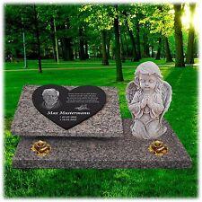 Granit Herz Grabstein GRABPLATTE Grabmal ► Foto + Text Gravur◄ 60x40 cm - gg63s