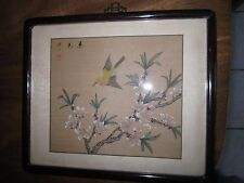 Late 19th Century Chinese painting of Yellow Finch on silk in time period frame