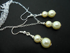 AN IVORY PEARL   WEDDING/ BRIDESMAID NECKLACE AND EARRING SET. NEW.