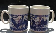 Set 2 Mugs Churchill England Ceramic Coffee Tea Cups Blue & White Hens Chickens
