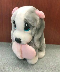 "Sad Sam Honey Dog Small 6.5"" Tall Stuffed Plush - Holding Pink Slipper - Bows"