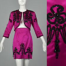 XXS 1980s Pilar Rossi Hot Pink Skirt Suit Matador Style Black Bead VTG Separates