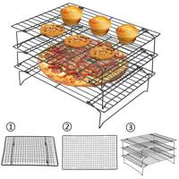 Stainless Steel Grid Wire Cookies Cake Bread Cooling Rack Safe Oven Baking Tools