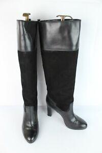 Bottes hautes Progetto cuir et daim noir T 40 / UK 6.5 TRES BON ETAT