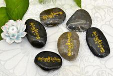 TIBETAN BLESSED BLACK MANI STONE OF HOLY MT. KAILASH : GREEN TARA MANTRA