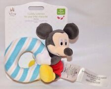 NWT-RARE-DISNEY STORE BABY-CLASSIC MICKEY MOUSE BLUE STRIPED RATTLE RING -CUDDLY