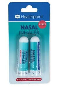 Healthpoint Nasal Inhaler Twin Pack Menthol Eucalyptus Breathing Congestion