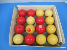 Vintage Snooker Pool Ball Set Complete Sixteen Pieces Total Yellow and Red VS14