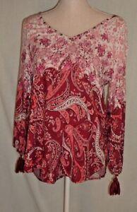 Hollister Peasant Blouse Medium Boho Chic Tassle Sleeve Detail Top Blouse Pinks