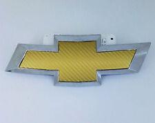Gold Carbon Fiber Vinyl Around Bowtie Emblems Decal Sheets 2pcs For CHEVROLET