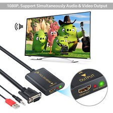 VGA input to HDMI output Adapter Converter Cable Audio Support for HDTV Monitor